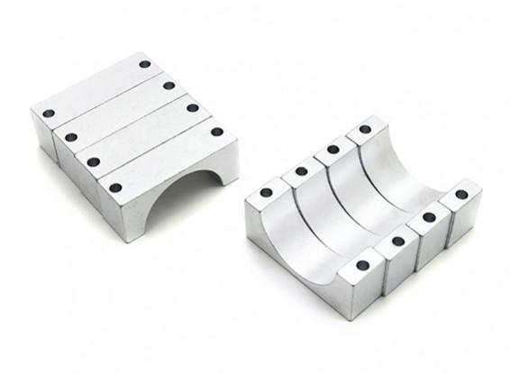 Silver Anodized CNC 10mm Aluminum Tube Clamp 22mm Diameter