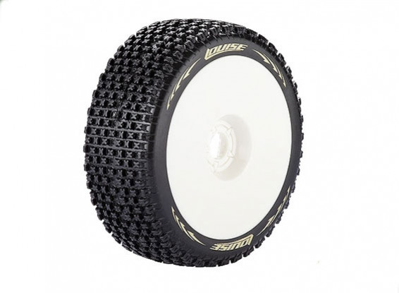 LOUISE B-PIRATE 1/8 Scale Buggy Tires Soft Compound / White Rim / Mounted