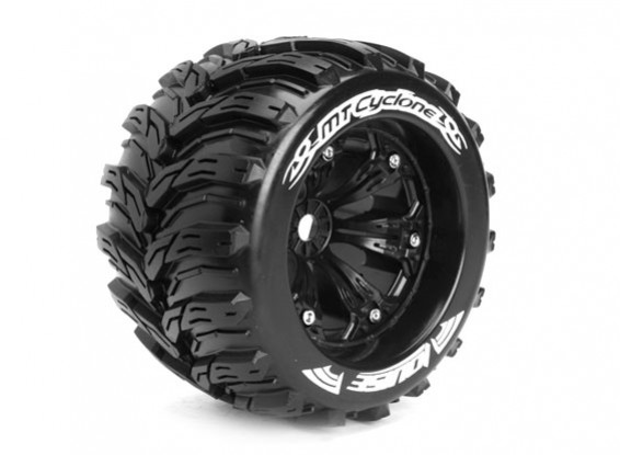 """LOUISE MT-CYCLONE 1/8 Scale Traxxas Style Bead 3.8"""" Monster Truck SPORT Compound / Black Rim"""
