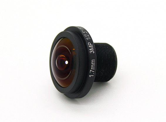 """1.7mm Wide Angle Lens, F2.0 , Mount 12x0.5 , CCD Size 1/3"""", Angle 185°"""