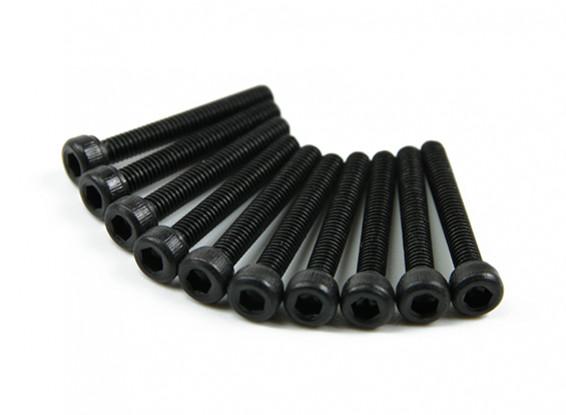 Screw Socket Head Hex M2.5 x 18mm Machine Thread Steel Black (10pcs)