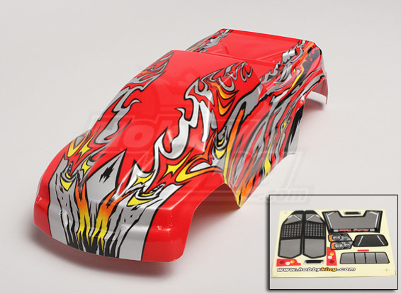 1/10 Monster Truck Pre-Painted Body Shell - Red/Silver