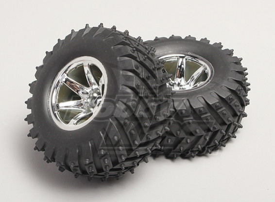 1/8 Monster Truck Wheel & Tyre 14mm Hex (2pc)