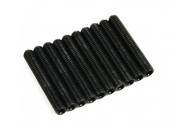 Screw Grub Hex M3x24mm Machine Thread Steel Black (10pcs)