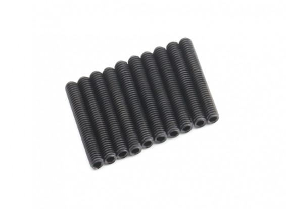 Screw Grub Hex M4 x 28mm Machine Steel Black (10pcs)