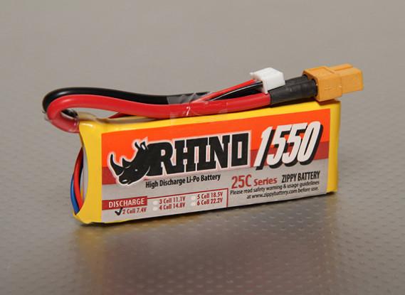 Rhino 1550mAh 2S1P 25C Lipoly Pack