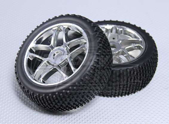 1/8 Buggy Wheel & Tyre 17mm Hex (2pc)