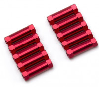 Lightweight Aluminium Round Section Spacer M3x17mm (Red) (10pcs)