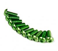 Screw Round Head Hex M3 x 8mm 7075 Aluminium Green (10pcs)