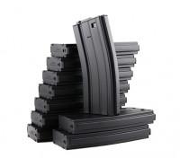 King Arms 120b round metal magazines for Marui M4/M16 AEG series (Black, 10pcs/ box)