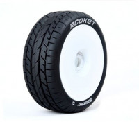 LOUISE B-ROCKET 1/8 Scale Buggy Tires Soft Compound / White Rim / Mounted
