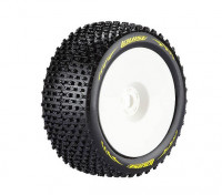 LOUISE T-PIRATE 1/8 Scale Truggy Tires Super Soft Compound / 1/2 Offset / White Rim / Mounted