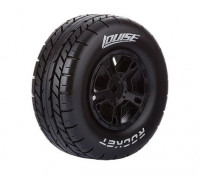 LOUISE SC-ROCKET 1/10 Scale Truck Tires Soft Compound / Black Rim (For LOSI TEN-SCTE 4X4) / Mounted