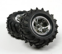 HobbyKing ® ™ 1/10 Crawler & Monster Truck 125mm 1.9 Wheel & Tire (Silver Rim) (2pcs)