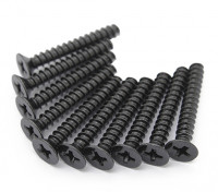 Screw Countersunk Hex M2.5 x 22mm Machine Thread Steel Black (10pcs)