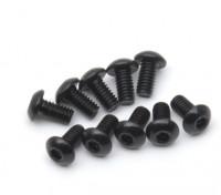 Screw Button Head Hex M2.5 x 5mm Machine Thread Steel Black (10pcs)