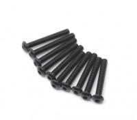 Screw Button Head Hex M2.5 x 18mm Machine Thread Steel Black (10pcs)