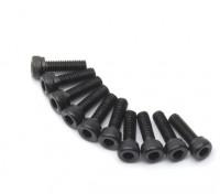 Screw Socket Head Hex M2.5 x 8mm Machine Thread Steel Black (10pcs)