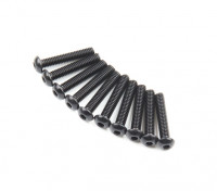 Screw Button Head Hex M2.6 x 14mm Machine Thread Steel Black (10pcs)