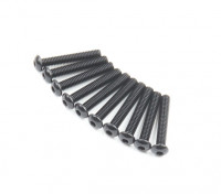 Screw Button Head Hex M2.6 x 16mm Machine Thread Steel Black (10pcs)