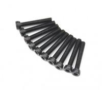 Screw Socket Head Hex M2.6 x 16mm Machine Thread Steel Black (10pcs)