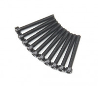 Screw Socket Head Hex M2.6 x 22mm Machine Thread Steel Black (10pcs)