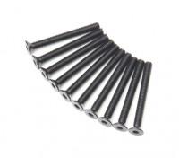 Screw Countersunk Hex M3x28mm Machine Thread Steel Black (10pcs)