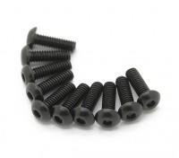 Screw Button Head Hex M3x5mm Machine Thread Steel Black (10pcs)