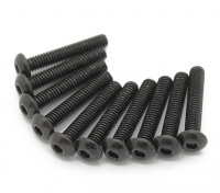 Screw Button Head Hex M3x18mm Machine Thread Steel Black (10pcs)