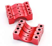 Red Anodized CNC Semicircle Alloy Tube Clamp (incl.screws) 14mm