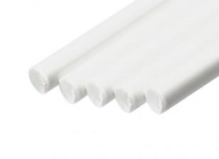 ABS Round Rod 5.0mm x 500mm White (Qty 5)