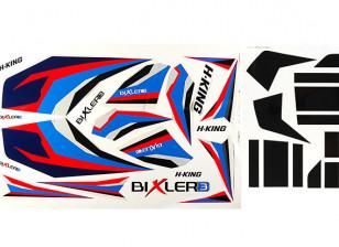 H-King Bixler 3 Glider 1550mm - Replacement Decal Set (Blue/Red)