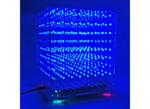 3D 8X8X8 LED Music MP3 DIY Kit w/3mm  Perspex Case
