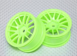 1:10 Scale Wheel Set (2pcs) Flourescent Green Split 7-Spoke RC Car 26mm (3mm Offset)
