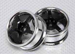 1:10 Scale Wheel Set (2pcs) Chrome/Black 5-Spoke RC Car 26mm (No Offset)