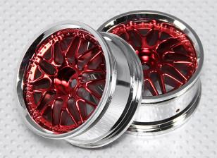 1:10 Scale Wheel Set (2pcs) Red/Chrome Split 10-Spoke RC Car 26mm (no offset)