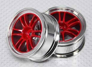 1:10 Scale Wheel Set (2pcs) Red/Chrome Split 6-Spoke RC Car 26mm (no offset)
