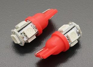 LED Corn Light 12V 1.0W (5 LED) - Red (2pcs)