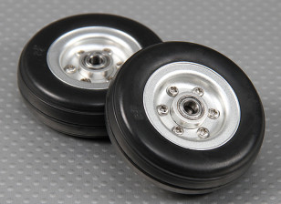 Scale Jet/Warbird Alloy Wheel 57mm w/Grooved Rubber Tire/Ballraced (2pc)