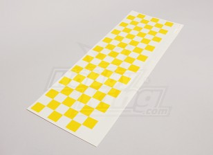 Decal Sheet Chequer Pattern Yellow/Clear 590mmx180mm