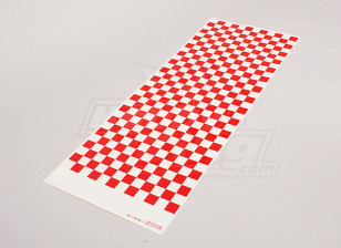 Decal Sheet Small Chequer Pattern Red/Clear 590mmx180mm