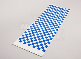 Decal Sheet Small Chequer Pattern Blue/Clear 590mmx180mm