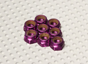 Purple Anodised Aluminum M5 Nylock Nuts(8pcs)