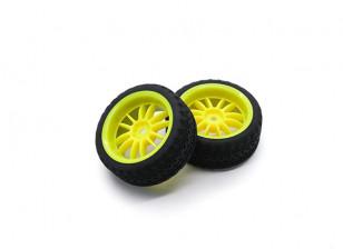 HobbyKing 1/10 Wheel/Tire Set AF Rally Spoke Rear(Yellow) RC Car 26mm (2pcs)