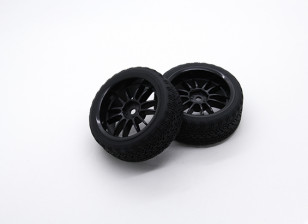 HobbyKing 1/10 Wheel/Tire Set AF Rally Spoke(Black) RC Car 26mm (2pcs)