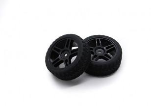 HobbyKing 1/10 Wheel/Tire Set AF Rally Star Spoke(Black) RC Car 26mm (2pcs)