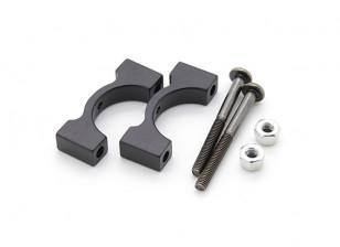 Black Anodized CNC Aluminum Tube Clamp 15mm Diameter