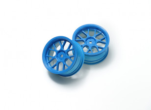 1:10 Wheel Set 'Y' 7-Spoke Fluorescent Blue (3mm Offset)