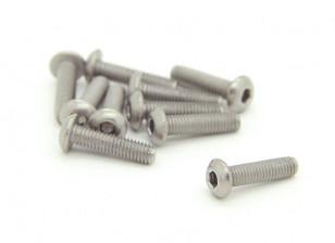 Titanium M3 x 12mm Dome Head Hex Screw (10pcs/bag)