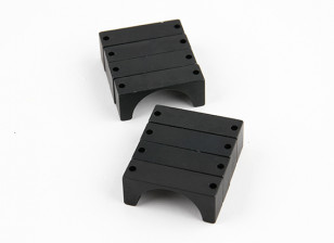 Black Anodized Double Sided CNC Aluminum Tube Clamp 25mm Diameter